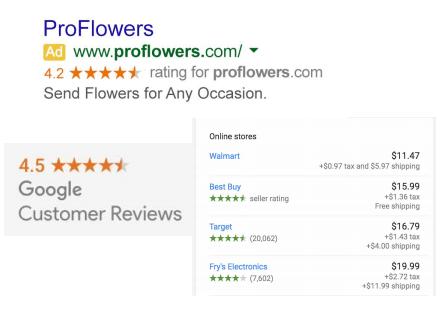 customer reviews adwords
